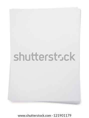 empty paper blank sheet isolated on white background