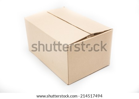 Empty paper box on white background. - stock photo