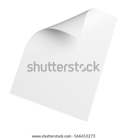 Empty paper sheet isolated on white. 3D Illustration