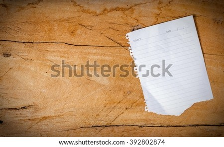 Empty paper sheet on The large wooden piece