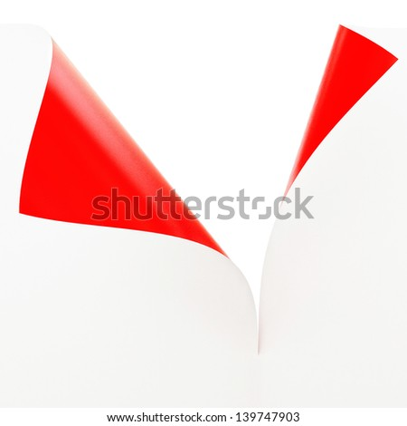 Empty paper sheet with 2 Sided Materials, White and Red Illustration