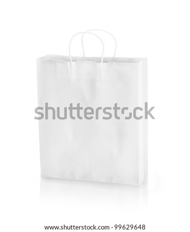 Empty paper shopping bags on a white background. - stock photo