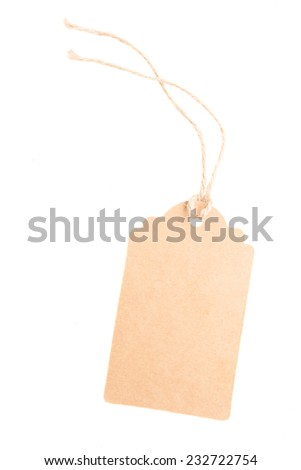 empty  paper tag   isolated on white background