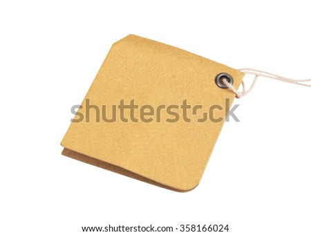 Empty paper tag, isolated on white background