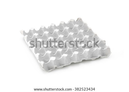 Empty Paper tray of eggs isolated on white background - stock photo