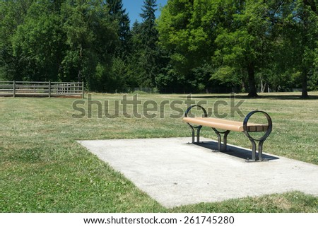 Empty park bench situation in a public park on a hot summer day. - stock photo