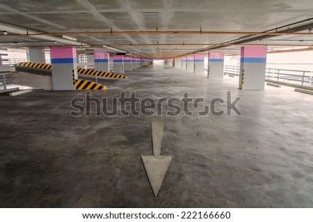 Empty parking garage on the building. - stock photo