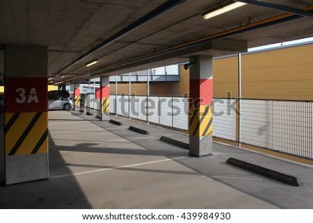 Empty parking lot area - stock photo