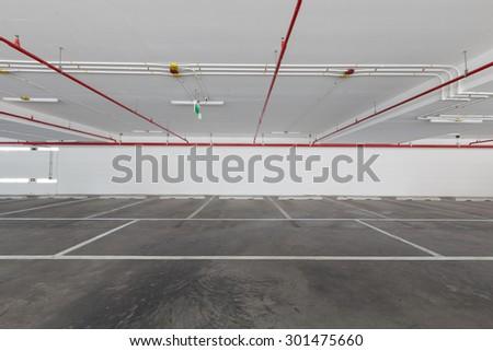 Empty parking lot building - stock photo