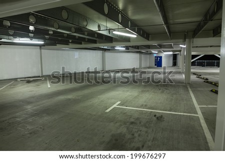 Empty parking lot in a multi level car park.