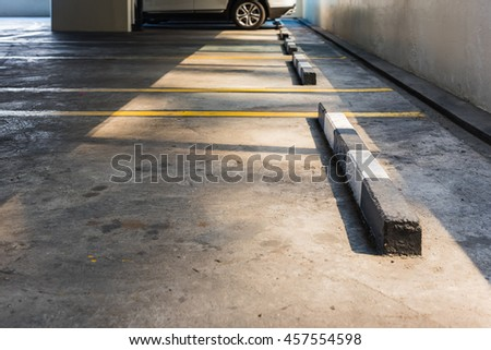 Empty parking lot in car parking floor with copy space - stock photo
