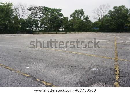 Empty parking lots. - stock photo