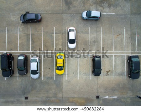 Empty parking lots, aerial view. - stock photo