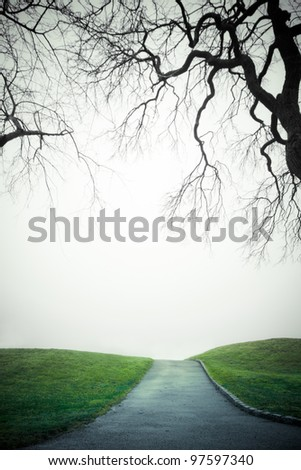 Empty path to unknown place on a damp gray day - stock photo