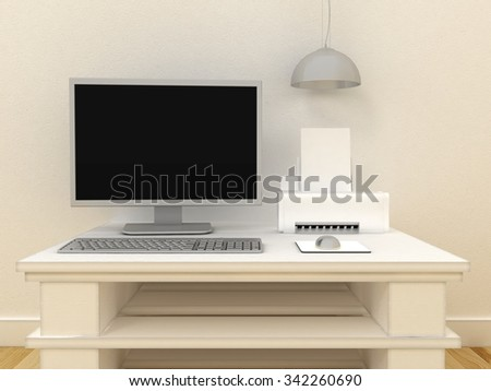 Empty PC computer monitor with ink jet or laser printer on table in modern classic interior background with decorative paint wall and wooden floor. Copy space image. 3d render
