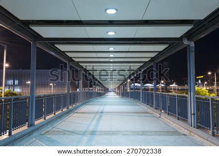 Empty Pedestrian Walkway at night - stock photo
