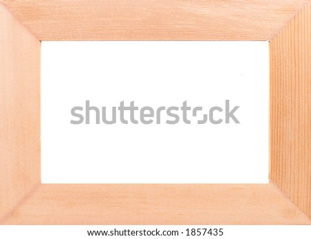Empty photo frame, clear frame, wood, on white - stock photo