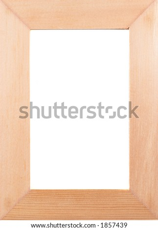 Empty photo frame, clear frame, wood, on white, portrait orientation - stock photo