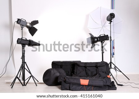 Empty photo studio with lighting equipment bags and backdrop & Lighting-equipment Stock Images Royalty-Free Images u0026 Vectors ... azcodes.com