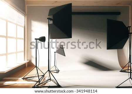 Empty photo studio with white background at sunrise 3D Render - stock photo