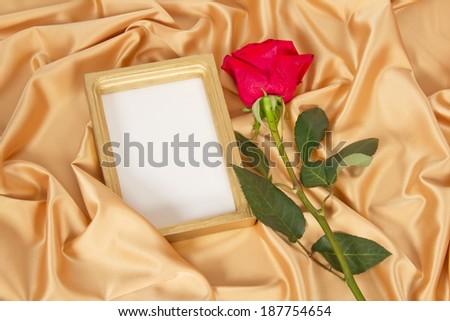 Empty photoframe with rose - stock photo