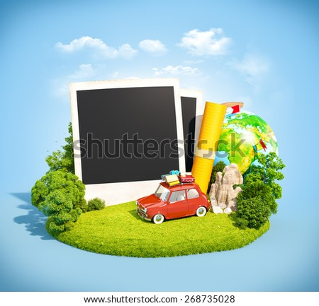 Empty photos, retro car and traveling equipment on a green meadow. Camping. - stock photo