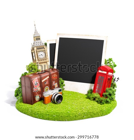 Empty photos with London famous monuments on grass field. Unusual illustration - stock photo