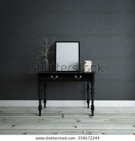 Empty Picture Frame And A Stack Of Books On A Console Table With A Modern  Twig