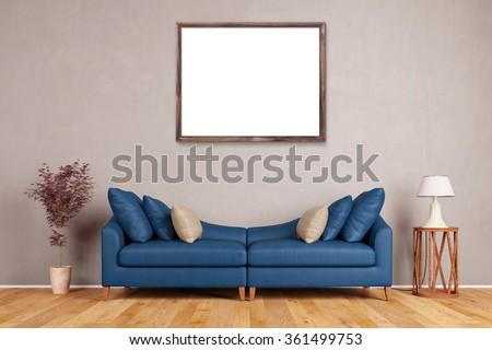 Blue Living Room Stock Photos RoyaltyFree ImagesVectors