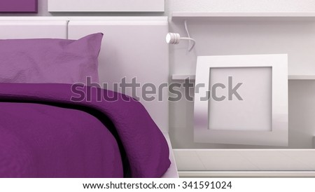 Empty picture frame shelves in classic bedroom interior background detail. Bed, nightstand, pillow, sheets and blanket. Copy space image. 3d render - stock photo