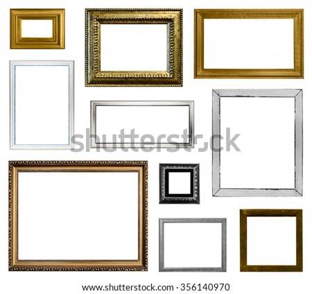 Empty picture frames collection isolated on white background - stock photo