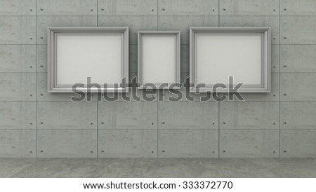 Empty picture frames in modern interior background on the concrete tiled wall with concrete floor. Copy space image.