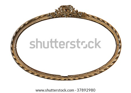 Empty picture wooden retro frame isolated on a white background - stock photo