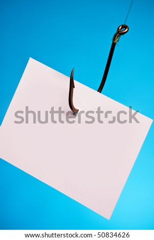 empty piece of paper on hook - stock photo