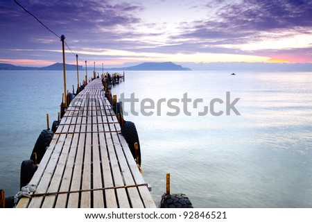 empty pier at dawn in one of the bays - stock photo
