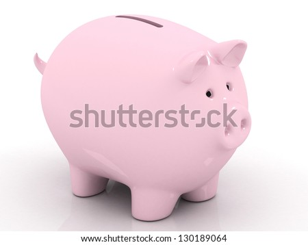 empty piggy bank on white background