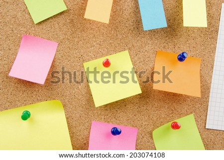 Empty pinned notes on corkboard (bulletin board)