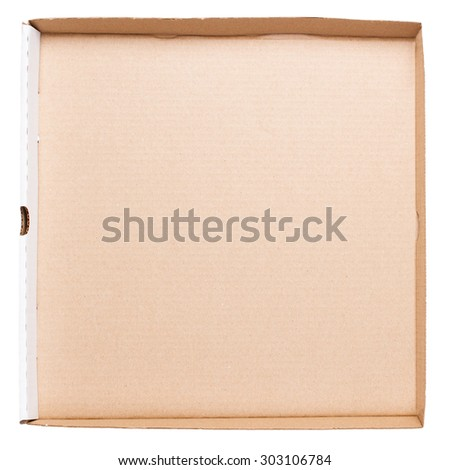 Empty pizza box isolated on white background. Top view - stock photo