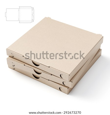 Empty Pizza Box with Blueprint Die line - stock photo