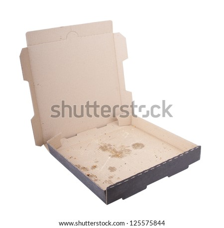 Empty pizza box with pizza stains isolated on white - stock photo