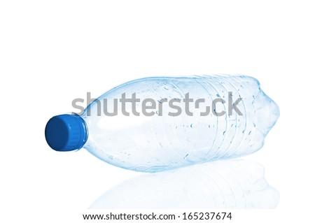 Empty plastic bottle closeup - stock photo