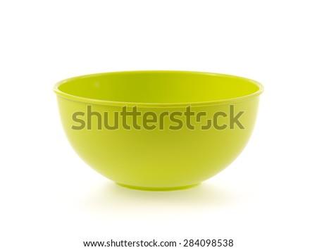 empty plastic bowl  isolated on white background - stock photo