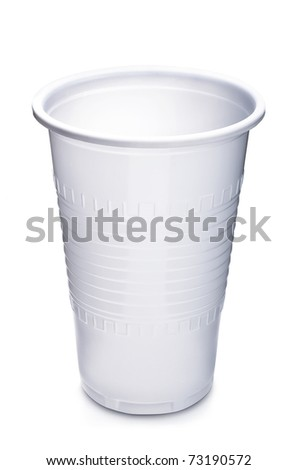 Empty plastic cup on white background - stock photo