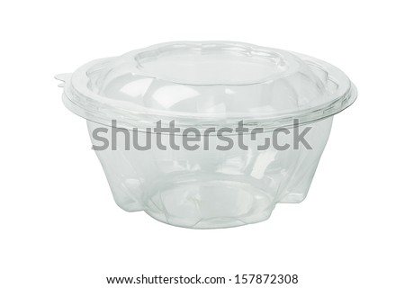 Empty Plastic Food Container on White Background - stock photo