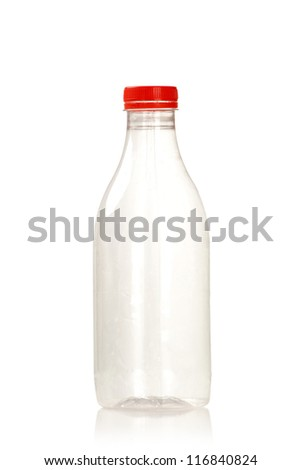 Empty plastic milk bottle with red cap on white background - stock photo