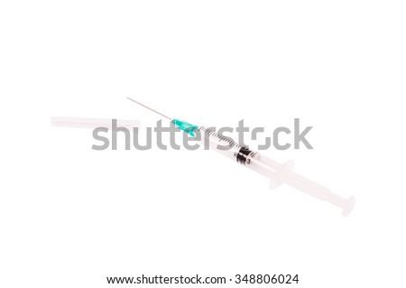 Empty plastic syringe isolated on white background - stock photo