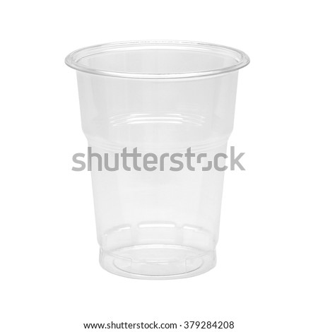 Empty plastic takeaway cup on white background including clipping path - stock photo