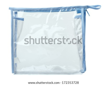 Empty plastic transparent purse bag isolated on white - stock photo