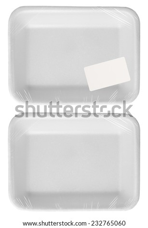 empty plastic wrapped food container with price label isolated - stock photo
