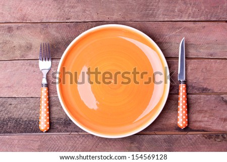 empty plate and fork,knife - stock photo